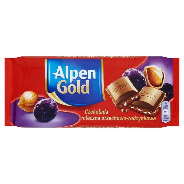 Alpen Gold Czekolada mleczna orzechowo-rodzynkowa 90 g