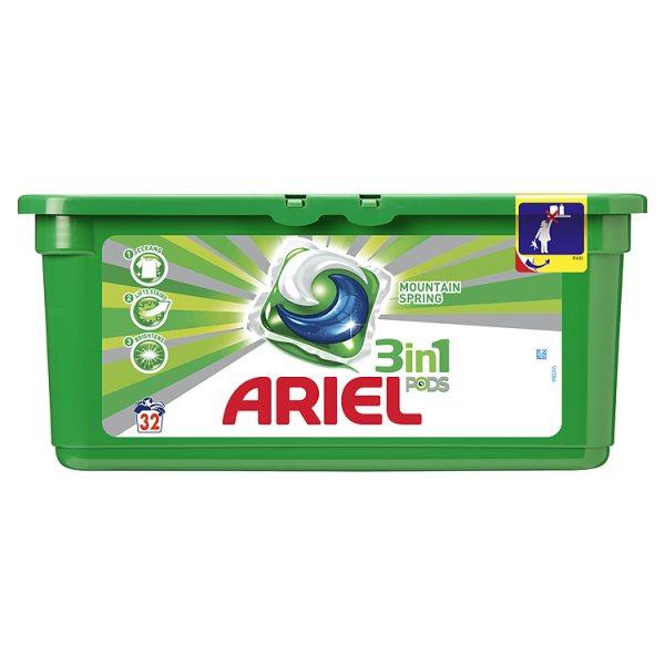 Ariel 3in1 Mountain Spring Kapsułki do prania 32 sztuki