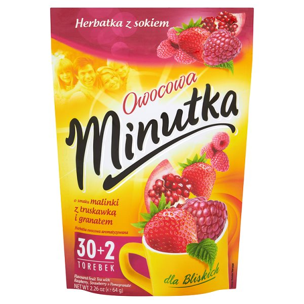 Minutka Owocowa o smaku malinki z truskawką i granatem Herbatka z sokiem 64 g (32 torebki)