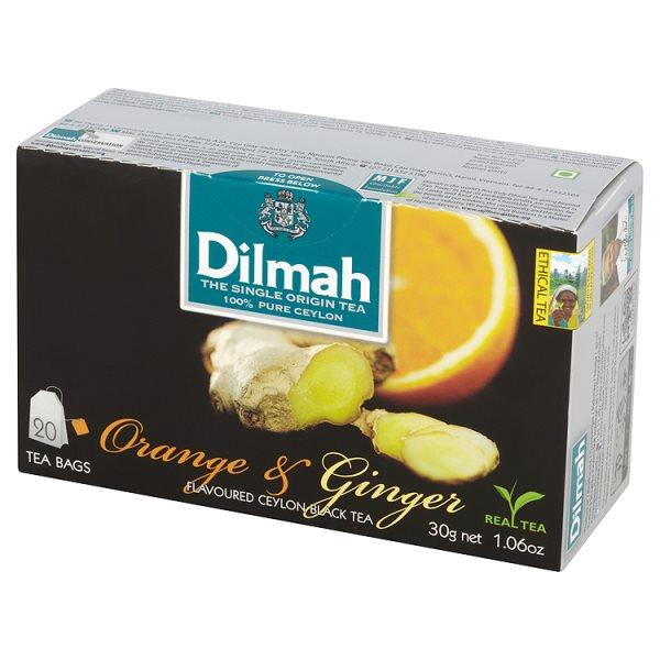 Dilmah Cejlońska czarna herbata z aromatem pomarańczy i imbiru 30 g (20 torebek)