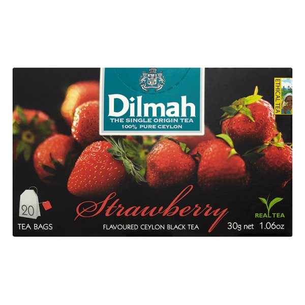 Dilmah Cejlońska czarna herbata z aromatem truskawki 30 g (20 torebek)