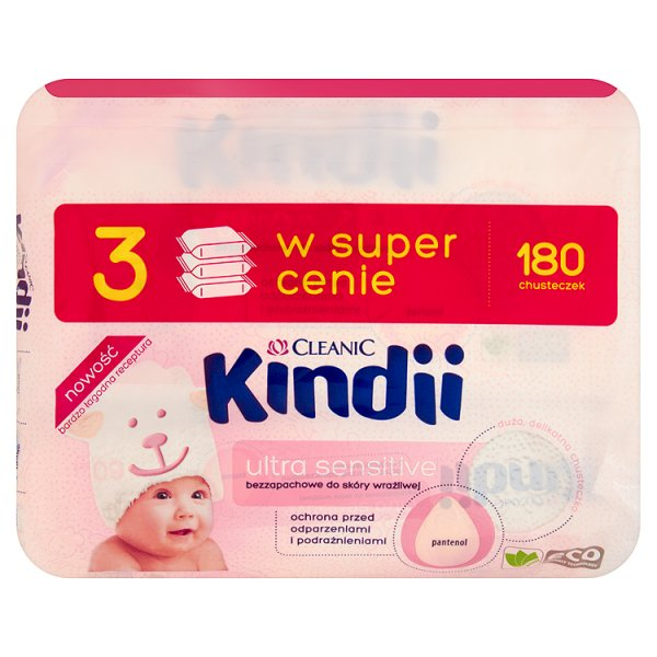Chusteczki Cleanic Kindii Baby Sensitivedo skóry szczególnie wrażliwej