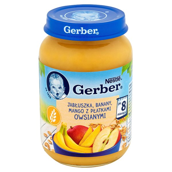 Deser gerber jabłuszka, banany, mango z płatkami owsianymi