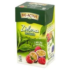 Big-Active Zielona herbata z maliną z marakują 34 g (20 torebek)