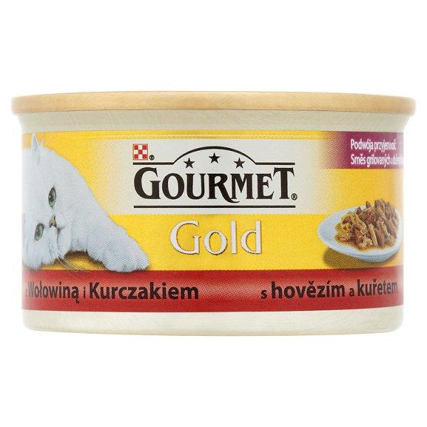 Gourmet Gold z wołowiną i kurczakiem Pełnoporcjowa karma dla dorosłych kotów 85 g