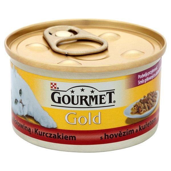 Gourmet Gold karma z wołowiną i kurczakiem puszka dla kota