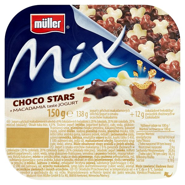 Müller Mix Jogurt o smaku orzechów makadamia z gwiazdkami zbożowymi w czekoladzie 150 g