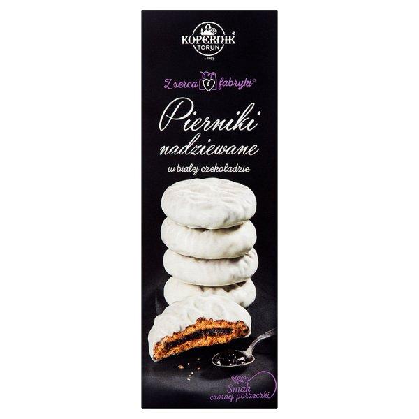 Kopernik Z serca fabryki Pierniki nadziewane w białej czekoladzie smak czarnej porzeczki 150 g
