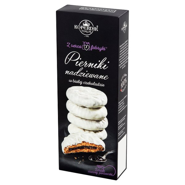 Pierniki w białej czekoladzie nadziewane czarna porzeczka