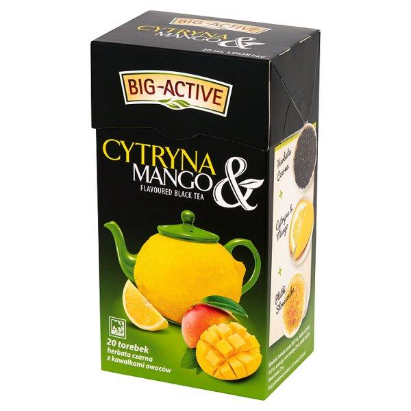 Big-Active Cytryna & Mango Herbata czarna z kawałkami owoców 40 g (20 torebek)