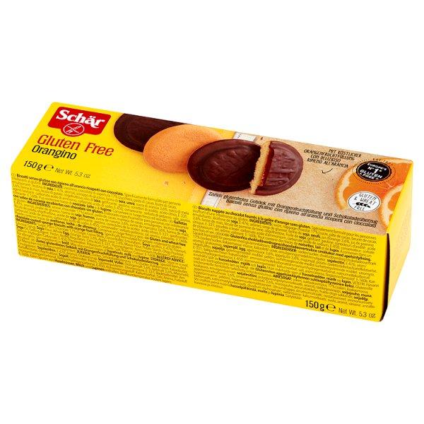 Biszkopty Schär Orangino bezglutenowe z galaretką pomarańczową w czekoladzie