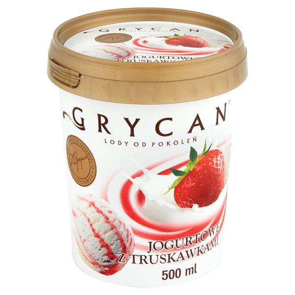 Lody Grycan jogurtowe z sosem truskawkowym