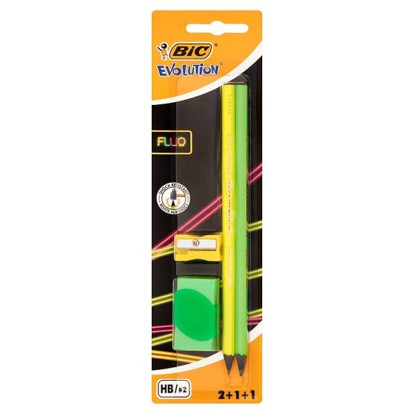 BiC Evolution Fluo Zestaw 2 ołówków 1 gumka i 1 temperówka