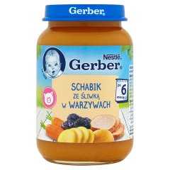 Danie Gerber schab z warzywami i śliwkami