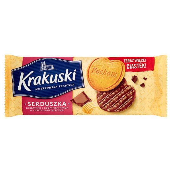 Ciastka krakuski serduszka w czekoladzie mlecznej