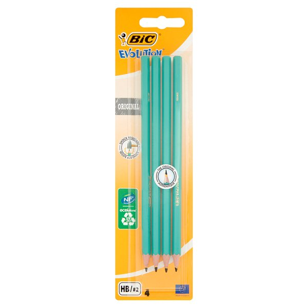 BiC Evolution Original Bezdrzewny ołówek grafitowy HB 4 sztuki