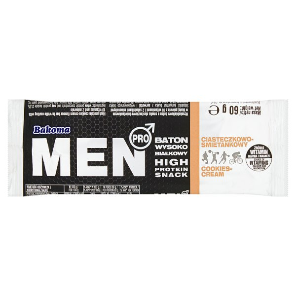Bakoma Men Pro Baton wysokobiałkowy ciasteczkowo-śmietankowy 60 g