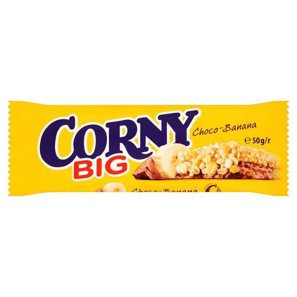 Baton corny big zbożowy bananowy oblany czekoladą z czekoladą i bananami