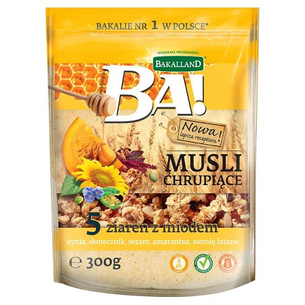 Bakalland Ba! Musli chrupiące 5 ziaren z miodem 300 g