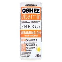 Oshee Vitamin Energy Witamina D+K Napój gazowany o smaku mięta limonka cytryna 250 ml