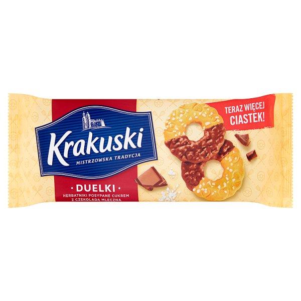 Krakuski Duelki Herbatniki posypane cukrem z czekoladą mleczną 181 g