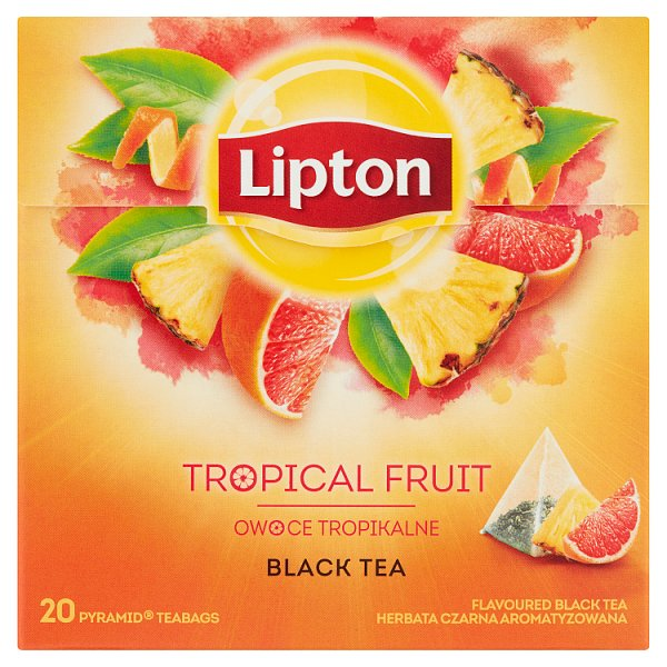 Lipton Herbata czarna aromatyzowana owoce tropikalne 36 g (20 torebek)