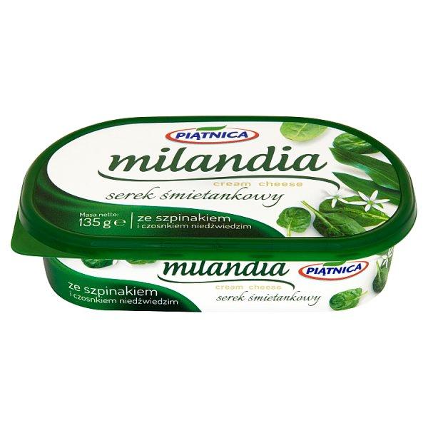 Serek milandia ze szpinakiem i czosnkiem.