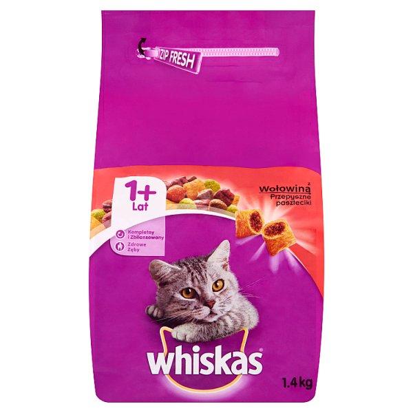 Whiskas z wołowiną Przepyszne paszteciki Karma pełnoporcjowa 1+ lat 1,4 kg