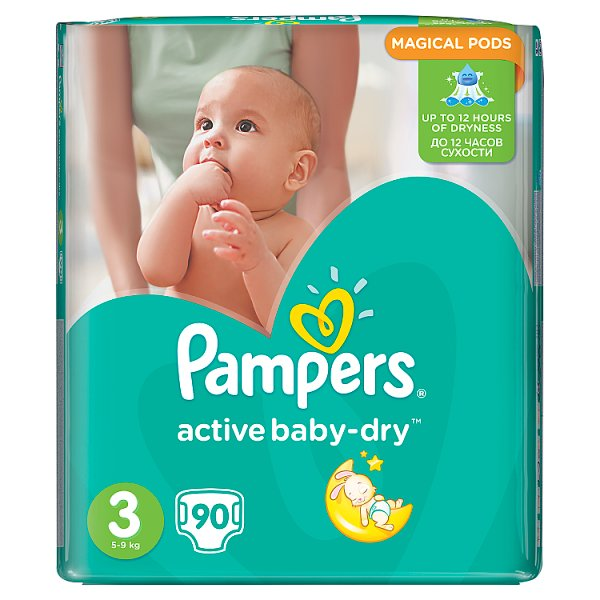 Pampers Active Baby-Dry Pieluchy 3 (Midi), 90 sztuk