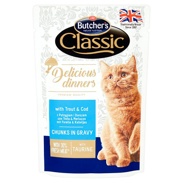 Butcher's Classic Delicious Dinners Karma dla kotów kawałki w sosie z pstrągiem i dorszem 100 g