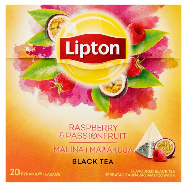 Lipton Herbata czarna aromatyzowana malina i marakuja 32 g (20 torebek)