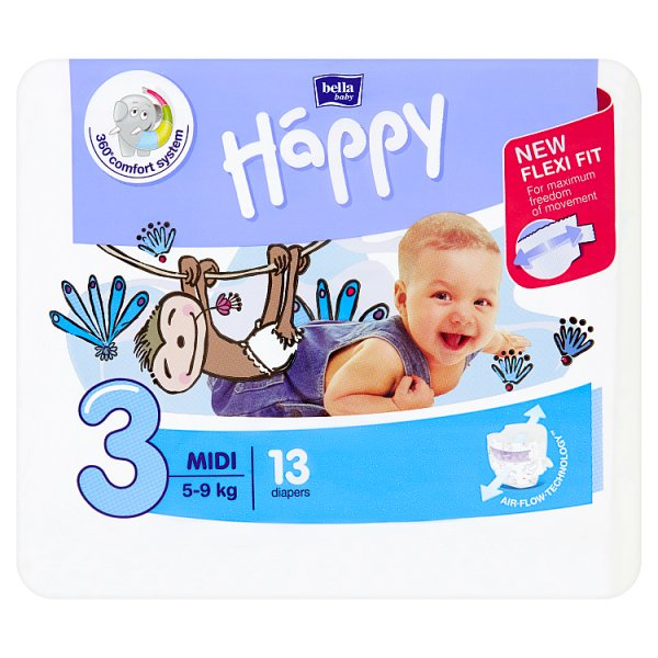 Bella Baby Happy Pieluszki jednorazowe 3 midi 5-9 kg 13 sztuk