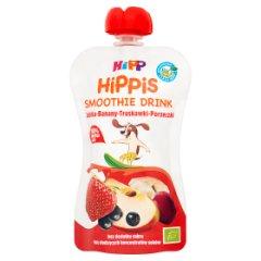 HiPP BIO HiPPiS Jabłka-Banany-Truskawki-Porzeczki Mus z owoców i soków po 1. roku 120 ml