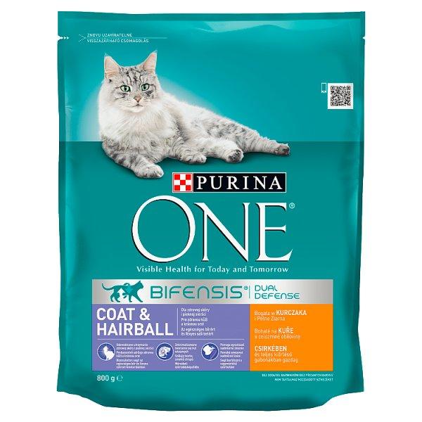 PURINA ONE Coat & Hairball Karma dla dorosłych kotów bogata w kurczaka i pełne ziarna 800 g