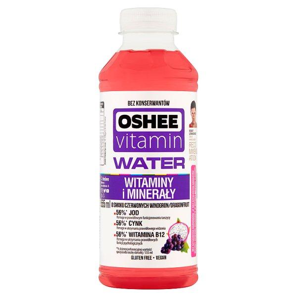 Oshee Vitamin Water Napój niegazowany o smaku czerwonych winogron i dragonfruit 555 ml