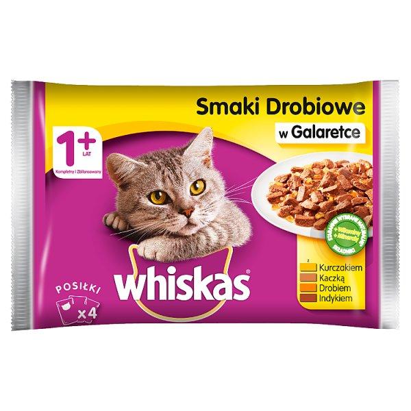 Whiskas 1+ lat Karma pełnoporcjowa smaki drobiowe w galaretce 400 g (4 x 100 g)