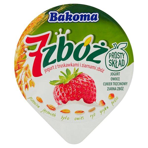 Bakoma 7 zbóż Jogurt z truskawkami i ziarnami zbóż 140 g