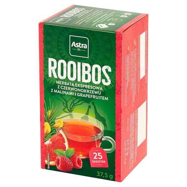 Herbata Rooibos z czerwonokrzewu o smaku maliny z grape 25*1,5g