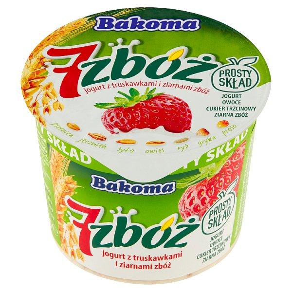 Bakoma 7 zbóż Jogurt z truskawkami i ziarnami zbóż 300 g