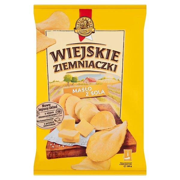Wiejskie Ziemniaczki Chipsy ziemniaczane o smaku masła z solą 130 g