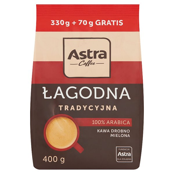 Astra Łagodna Tradycyjna kawa drobno mielona 400 g