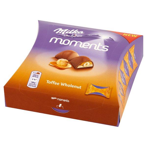 Milka Moments Czekolada mleczna Toffee Wholenut 97 g (11 sztuk)