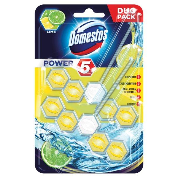 Zawieszka do toalet Domestos power 5 duo lime/2*55g