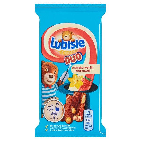 Lubisie Duo Ciastko biszkoptowe z nadzieniem o smaku wanilii i truskawek 30 g
