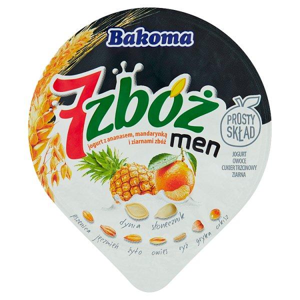 Bakoma 7 zbóż men Jogurt z ananasem mandarynką i ziarnami zbóż 300 g
