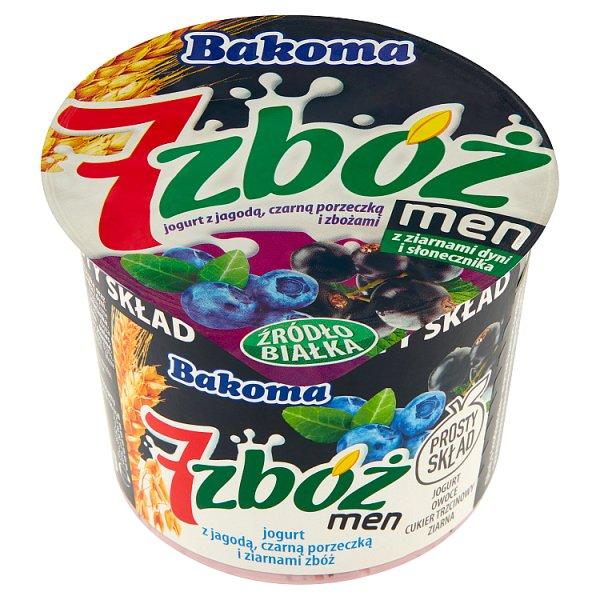 Bakoma 7 zbóż men Jogurt z jagodą czarną porzeczką i ziarnami zbóż 300 g