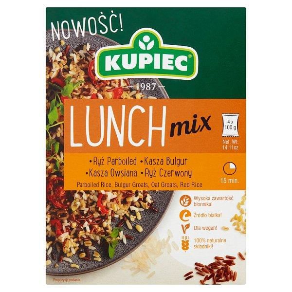 Kupiec Lunch Mix Ryż parboiled kasza bulgur kasza owsiana ryż czerwony 400 g (4 x 100 g)