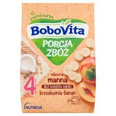 Kaszka Bobovita porcja zbóż mleczno manna banan-brzoskwinia