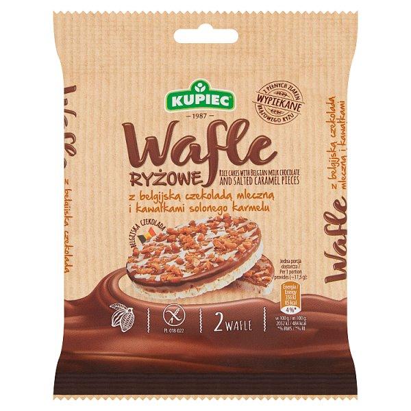 Kupiec Wafle ryżowe z belgijską czekoladą mleczną i kawałkami solonego karmelu 35 g (2 sztuki)