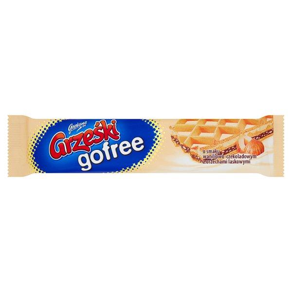 Grześki gofree Wafel przekładany kremem o smaku waniliowo-czekoladowym z orzechami laskowymi 33 g